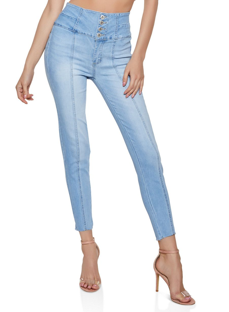 WAX 4 Button High Waisted Push Up Jeans in 2019 Push up