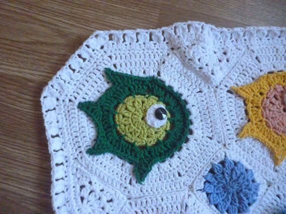 Crochet FISH PUZZLE  baby blanket throw crib by Mydayboutique