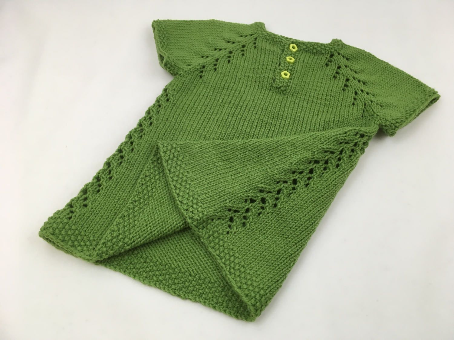 Green Knit Baby Dress by CuddlesAndClouds on Etsy | Knit Baby ...