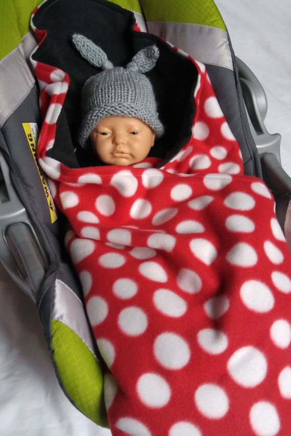 Car Seat Blanket Swaddle Red Dot And Black