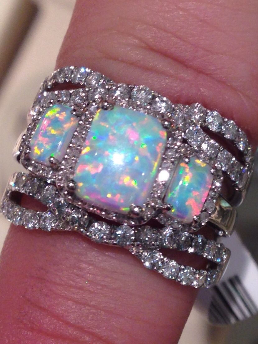 Three Stone Opal Ring With Diamond Guard From Zales