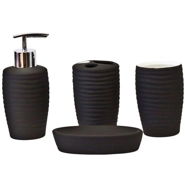 Sq Professional Matte Black Ribbed Ceramic Bathroom Accessory Set 4pc Found On Polyvore