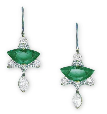 emerald earrings by Wallace Chan