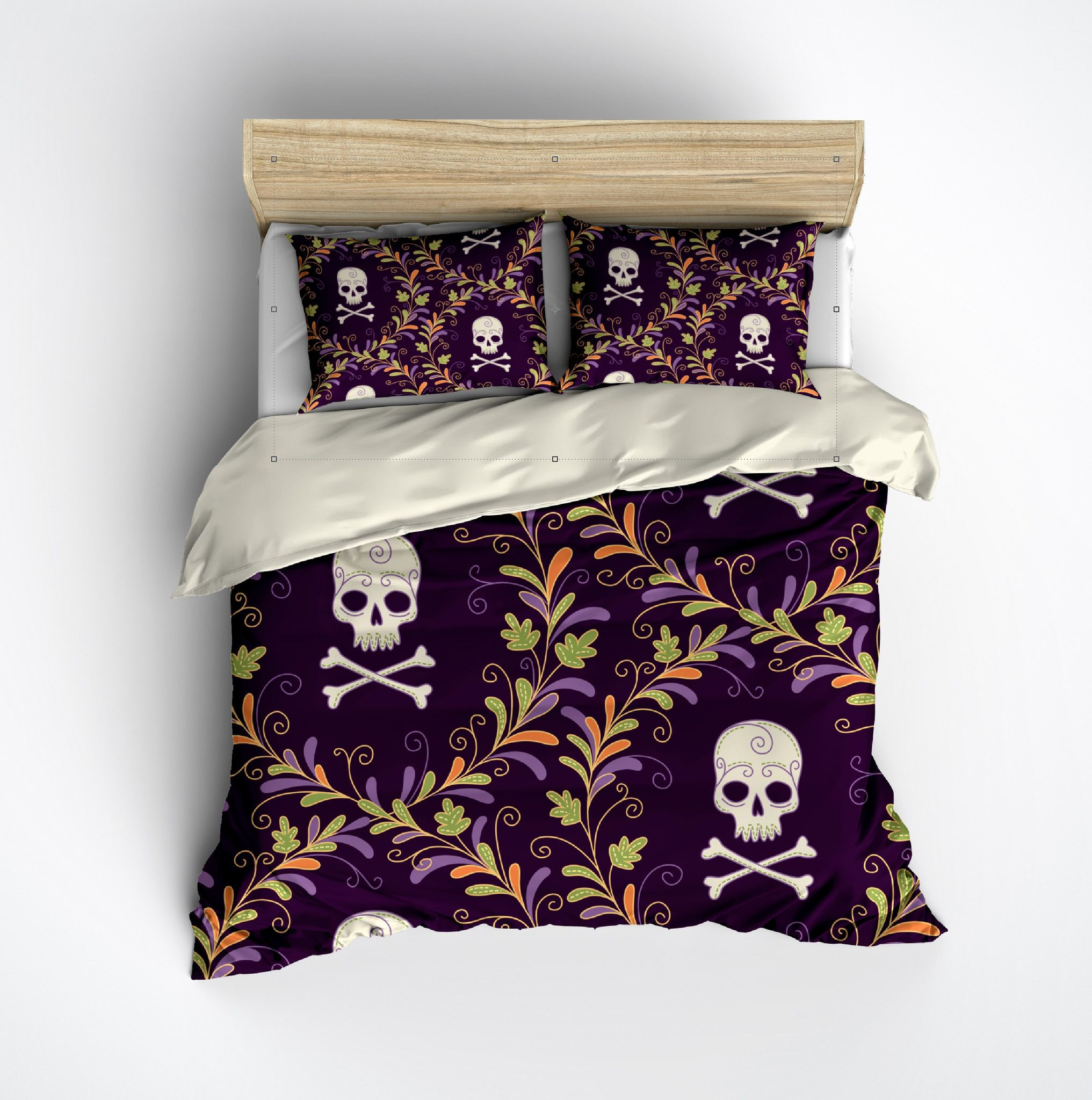 Purple Wreath Skull Bedding CREAM Duvet bedding sets