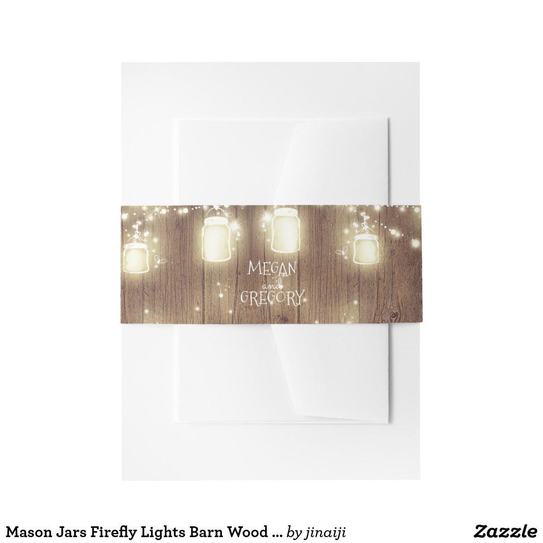 Mason Jars Firefly Lights Barn Wood Wedding Invitation Belly Band ...