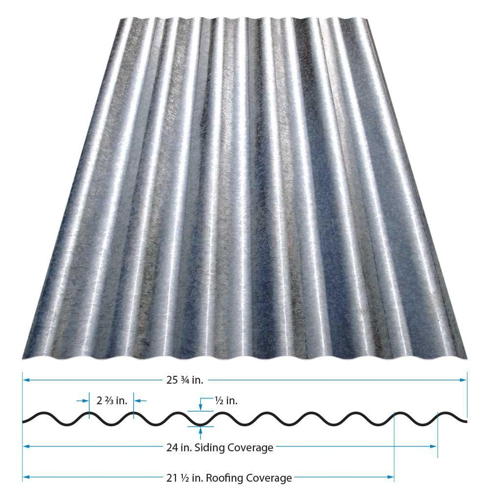 Gibraltar Building Products 12 Ft Corrugated Galvanized Steel 29 Gauge Roof Panel Cr12g U The Home Depot Roof Panels Steel Roof Panels Galvanized Steel