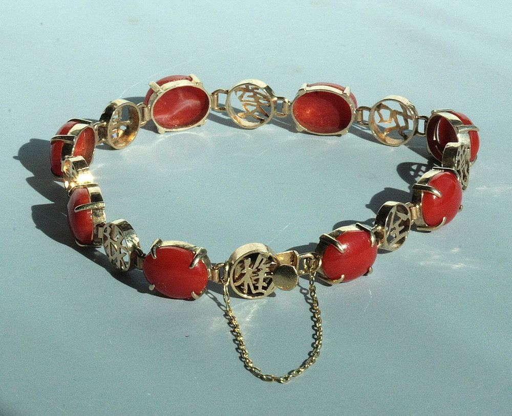 Vintage chinese character k rose gold aka coral oxblood red coral