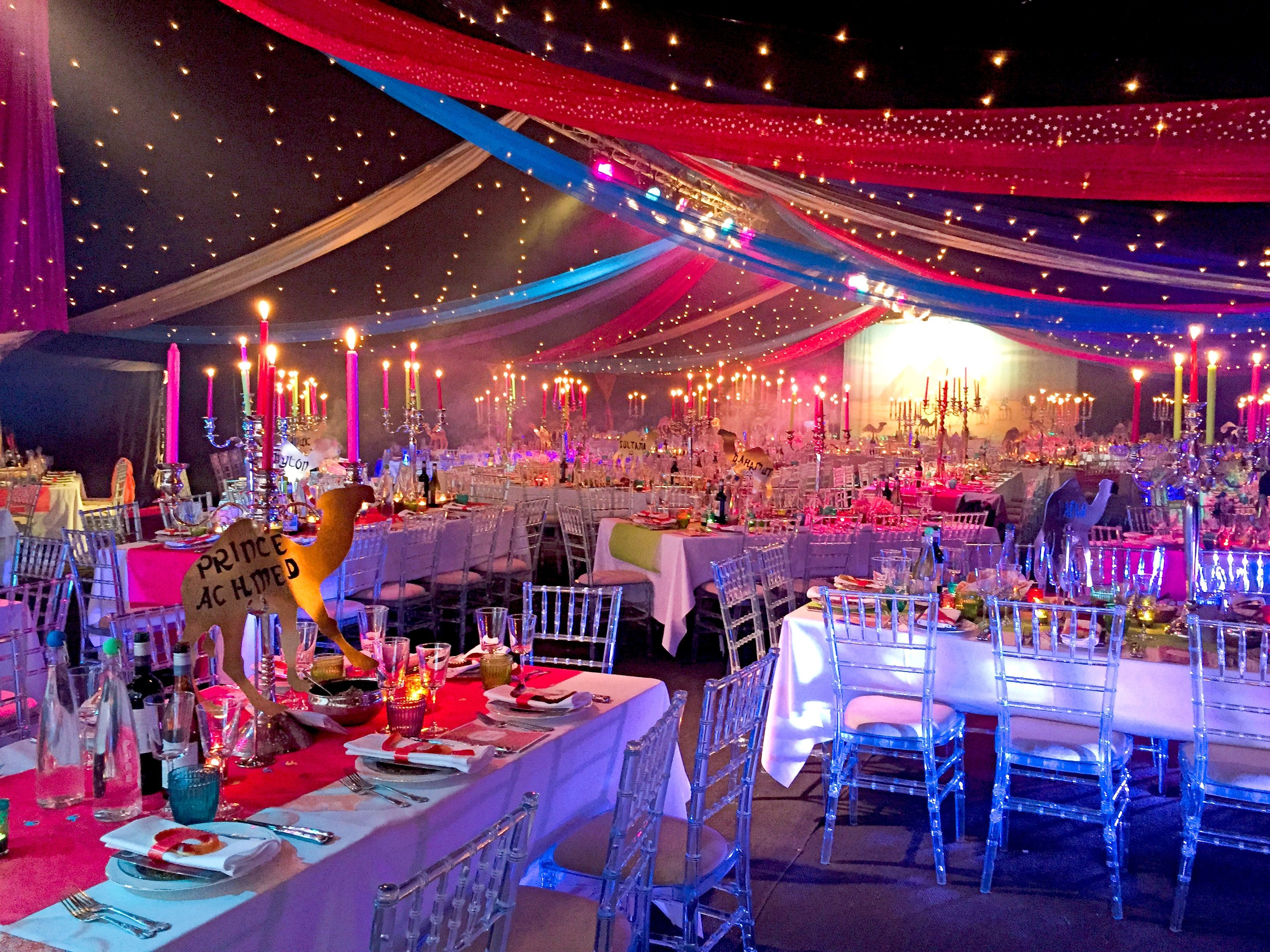 Bespoke party planners arabian nights theme charity ball for Summer white party ideas