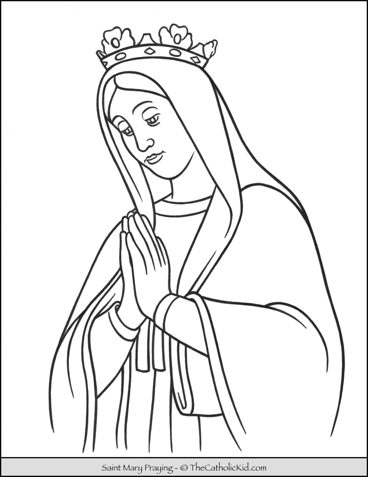 Saint Mary Praying Coloring Page Thecatholickid Com Coloring Pages Saint Coloring Catholic Coloring