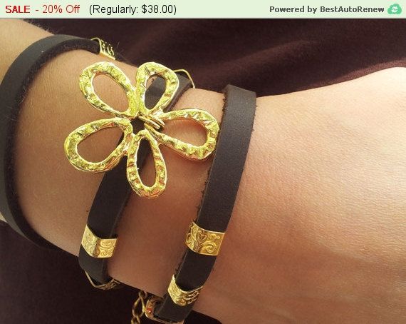 On Sale Summer Gifts - Leather Wrapped Bracelet Gold and Leather Bracelet Flowers Bracelet Adjustable Statement Bracelet Gift For Her by ELITALSHOP from Ecommmax. Find it now at http://ift.tt/28qPuoK!