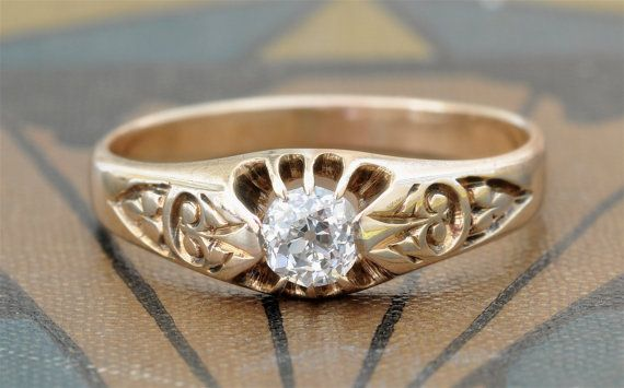 Victorian Engagement RingOld Mine Cut Diamond Engagement Ring1800s