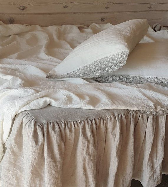 Lace trimmed SHEET SET from soft off-white linen linen top ...