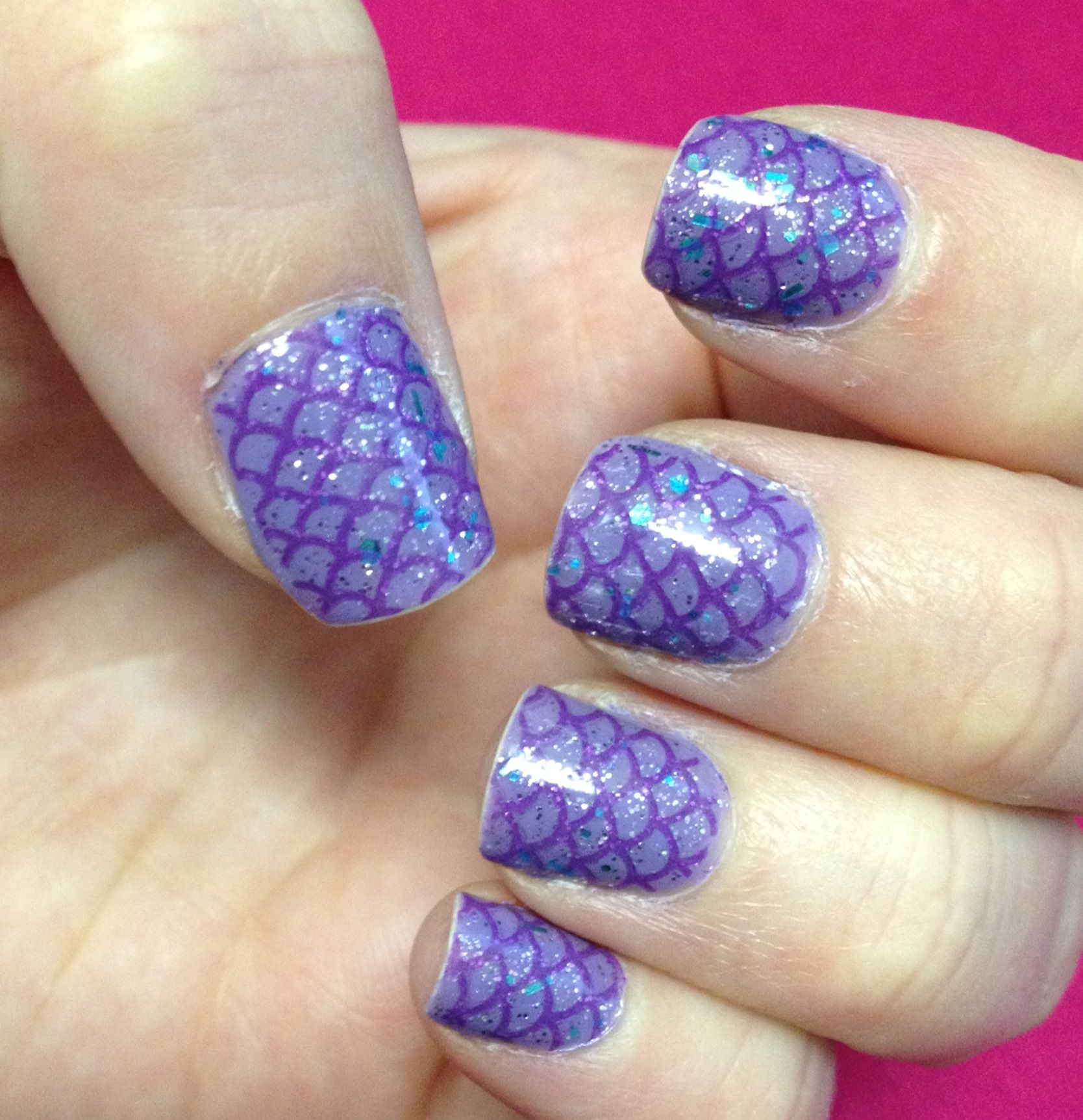 Mermaid nails using Mash nail stamping plate. | Katie\'s Nails ...
