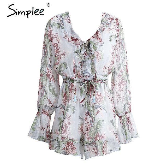 Floral Print Tassel Jumpsuit Romper Casual Long Sleeve