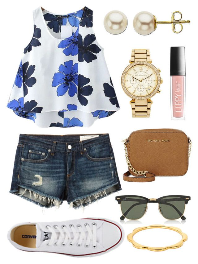 Floral Fantasy! by lizzy-carson on Polyvore featuring Chicnova Fashion, rag & bone/JEAN, Converse, Michael Kors, MICHAEL Michael Kors, Lord & Taylor, Kate Spade, Ray-Ban and Butter London