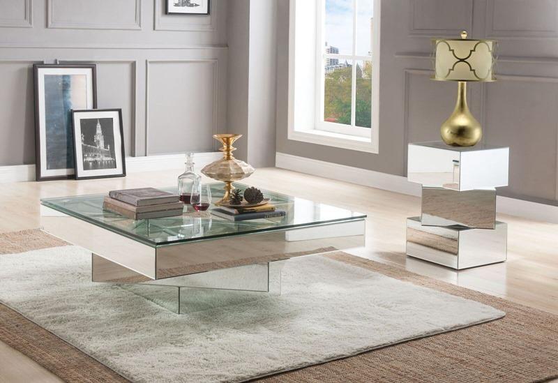 Acme 80270 Meria 40 Square Glass Top Mirrored Coffee Table Set