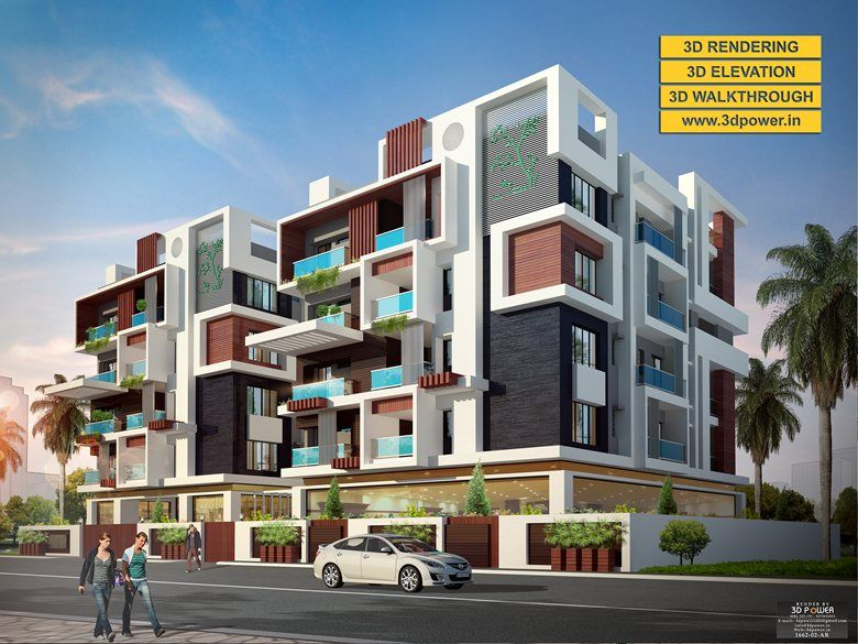 Attractive 3D Apartment Exterior Day U0026 Night Rendering And Elevation Design By 3D  Power | Threed Power Visualisation Rahul