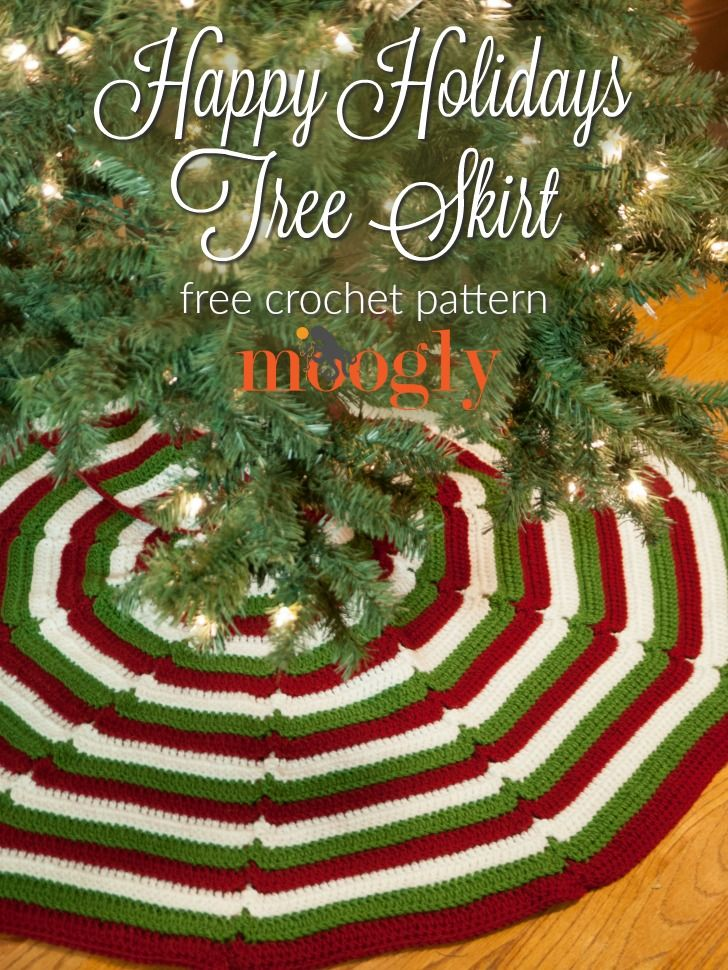happy holidays tree skirt free crochet pattern on mooglyblogcom - Mini Christmas Tree Skirt