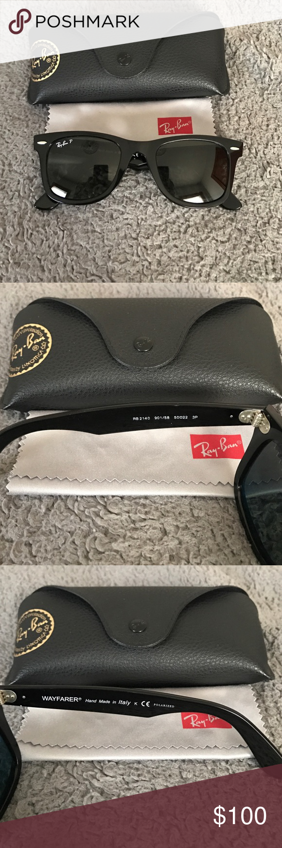 Ray-Ban Original Wayfarer Classic Polarized RB2140 901 58 50-22 3P. Worn  only a few times - no scratches or damages. Size standard, polarized, solid  black ... aef1fafb6ae6