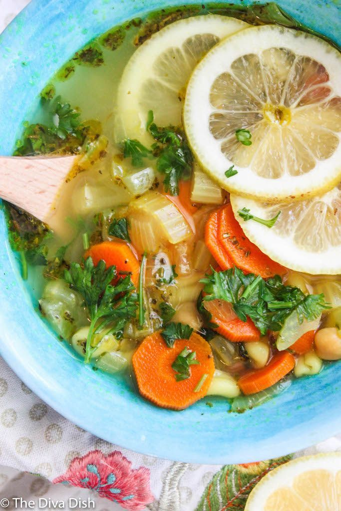 Lemon Chickpea Noodle Soup via The Diva Dish #chickpeanoodlesoup Lemon Chickpea Noodle Soup via The Diva Dish #chickpeanoodlesoup