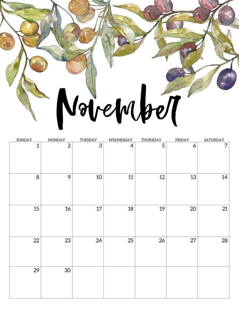 2020 Free Printable Calendar - Floral | ธงประดับ, ปฏิทิน ...