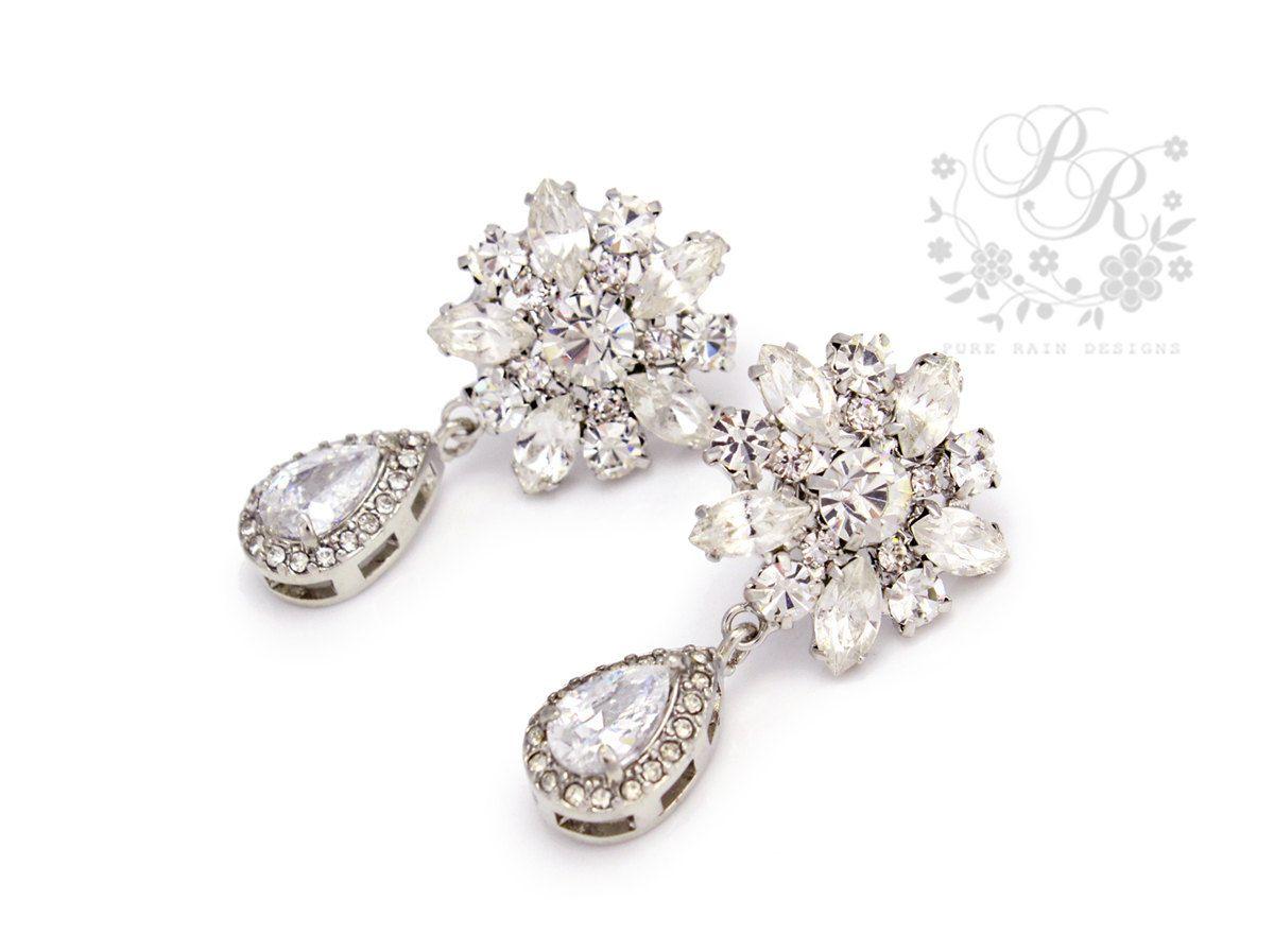 Wedding+Earrings+Teardrop+Platinum+plated+by+PureRainDesigns,+$30.00