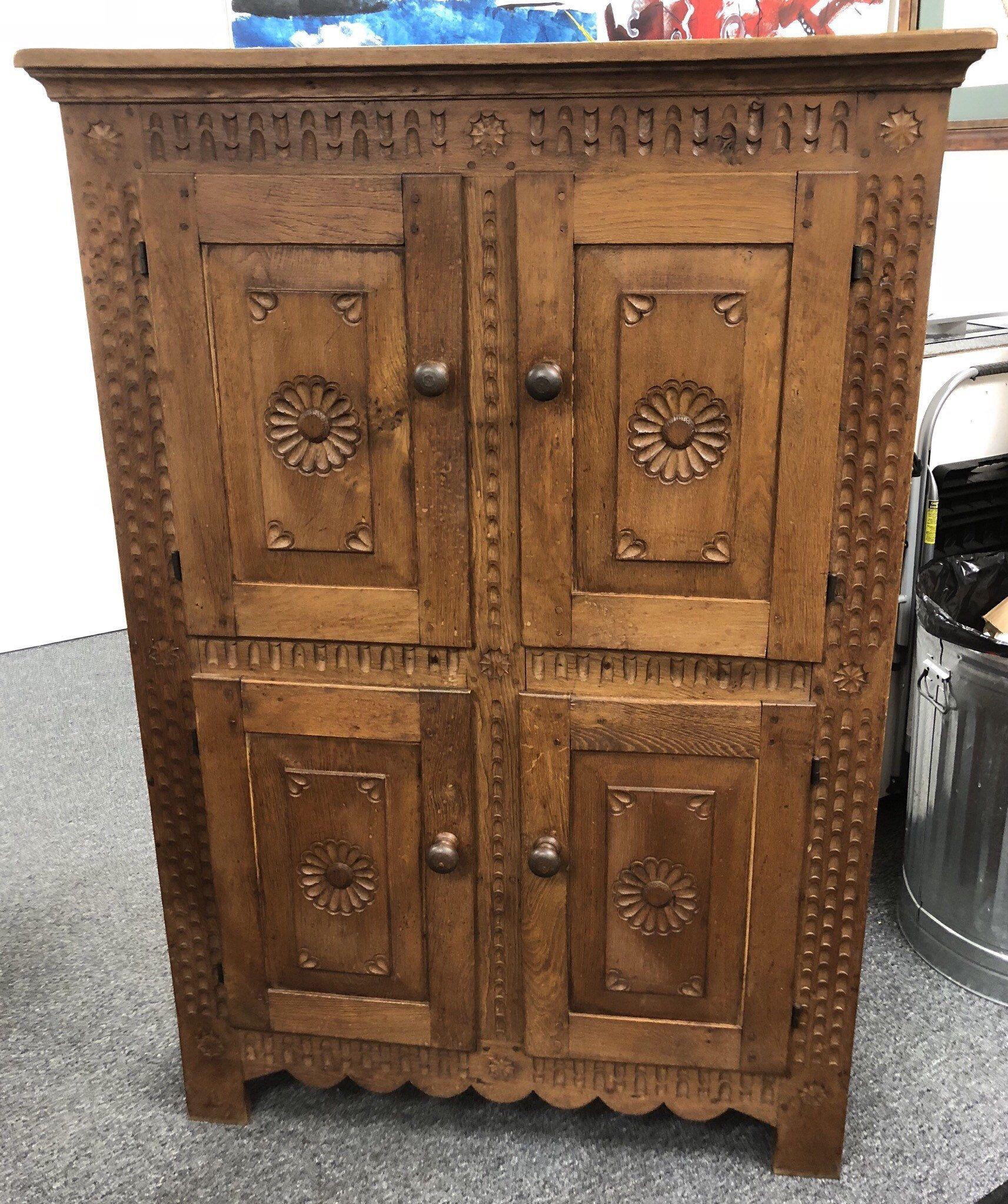 Antique Dutch solid oak cupboard 4 doors scallop