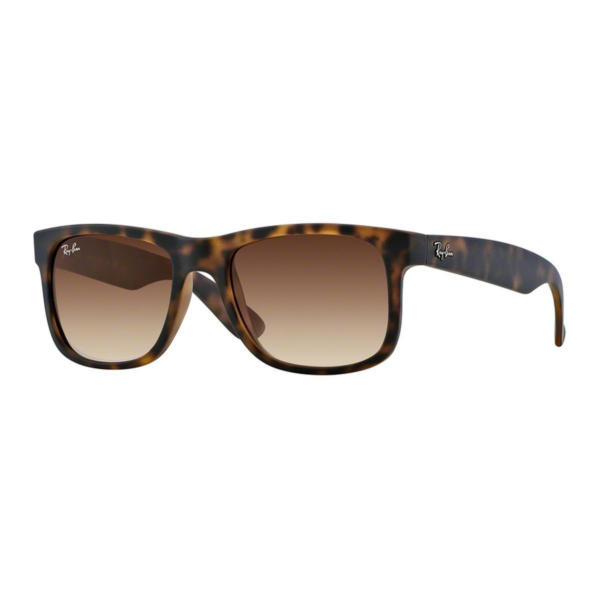 c09a2f5c2ae4 Ray-Ban Justin Wayfarer RB4165 Unisex Tortoise (Green) Frame Brown Gradient  Lens Sunglasses (51 mm), Size One Size Fits All (check)