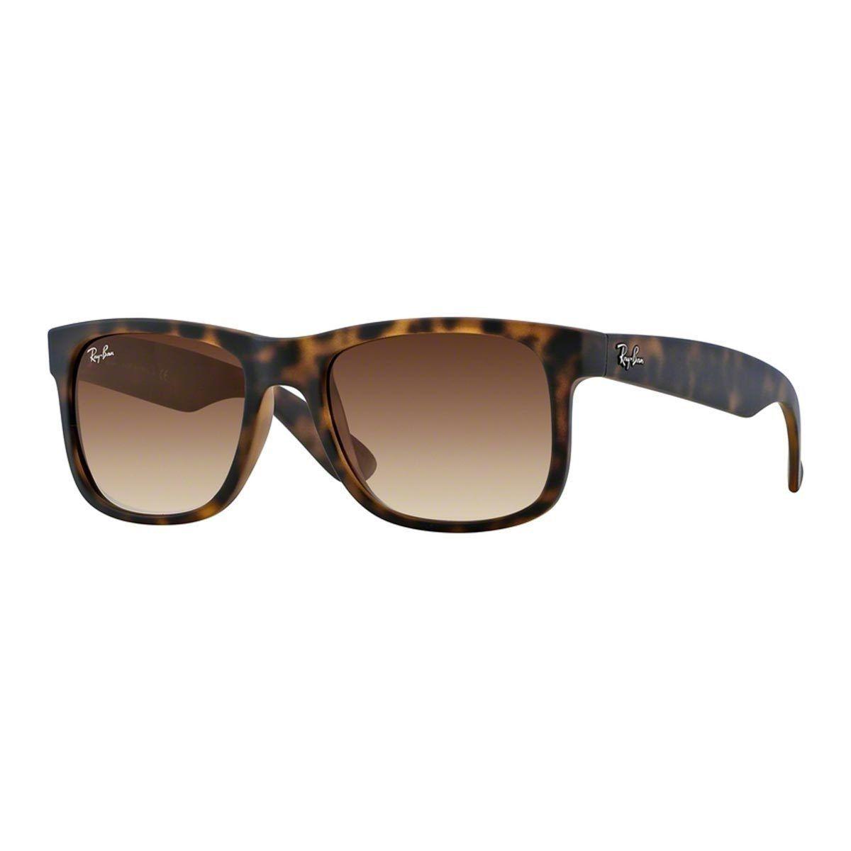 582fd6ff24 Ray-Ban Justin Wayfarer RB4165 Unisex Tortoise (Green) Frame Brown Gradient  Lens Sunglasses (51 mm)