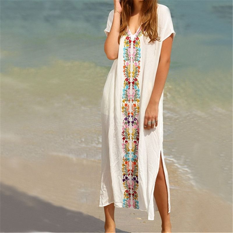 f673e28dd92 New Arrivals Beach Cover up Rayon Embroidery Swimwear Ladies Vintage Pareo Kaftan  Beach Swimsuit Robe de Plage Beachwear  Q18-in Cover-Ups from Sports ...