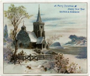 victorian advertising card vintage christmas clip art snowy winter country scene old fashioned christmas card snow covered church illustration