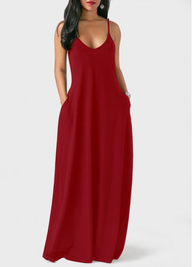 Pockets Wine Red Open Back Maxi Dress On Sale Only Us2969 Now