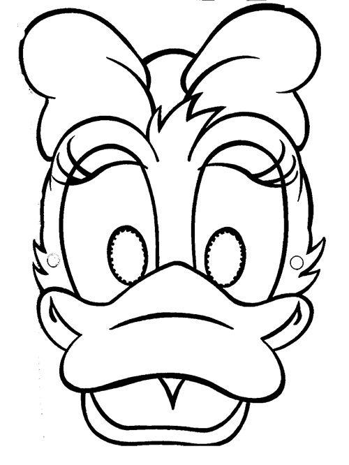Mscara Daisy Duck para imprimir y colorear  Mscaras de carnaval