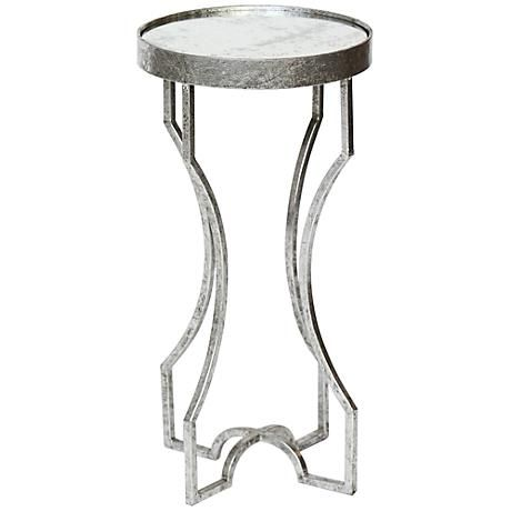 The Tasteful Silver Leaf Finish Of This Round Accent Table Is Enhanced By  The Handsome Antiqued
