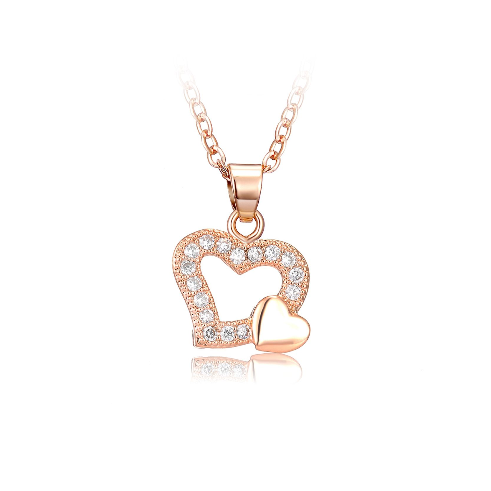 Drole rose gold color hollow heart pendant statement necklace for