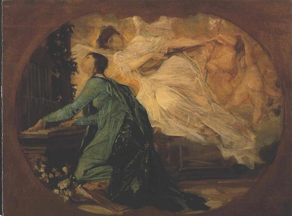 'Female organ player' by Gustav Klimt (1862-1918, Austria)