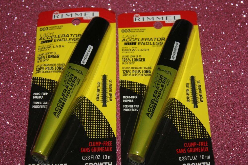 2abd8af3a11 LOT OF 2 Rimmel Lash Accelerator Endless Mascara 003 Extreme Black + FREE  GIFT #Rimmel