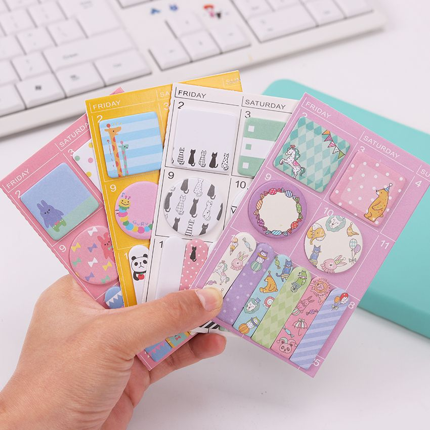 2PCS Candy Colors Animals Party Memo Pad Work Plan Sticky Notes