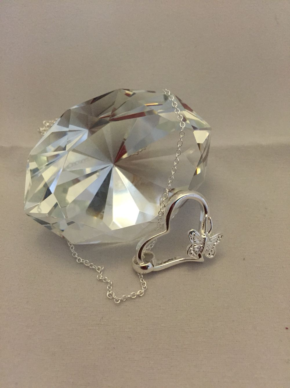 Sterling Silver Butterly Heart Pendant.