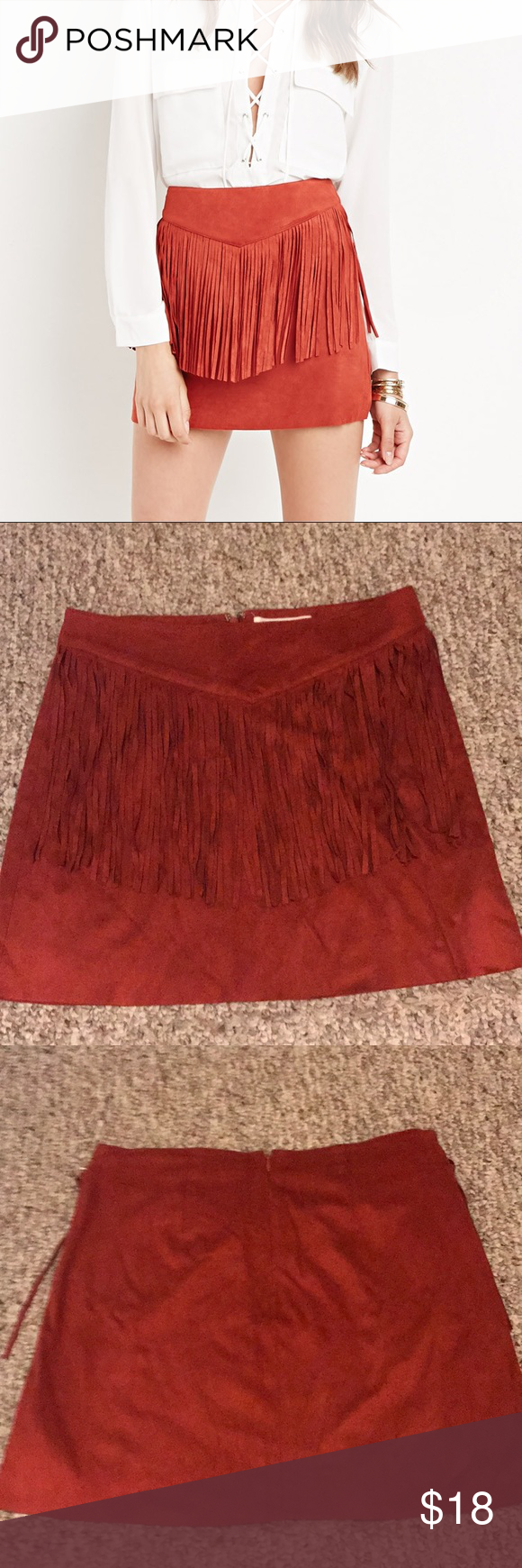 a3b3a1462 Forever 21 fringed faux suede skirt Faux suede fringed skirt size small (s) Forever  21 Skirts Mini