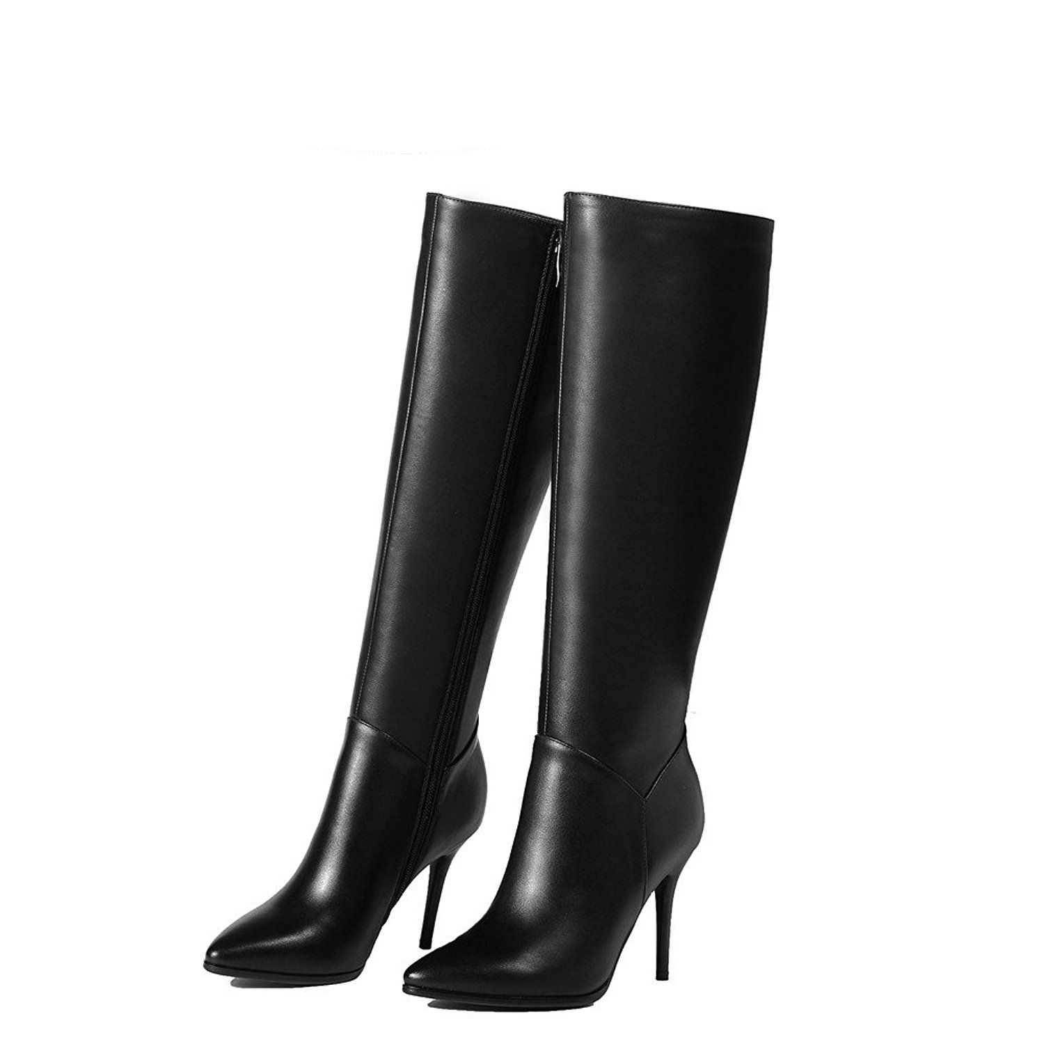 7c2e9825c5c Nine Seven Genuine Leather Womens Stiletto Heel Pointed Toe Wide Calf Knee  High Boot with Side Zip    Special boots just for you. See it now!   Work  boots