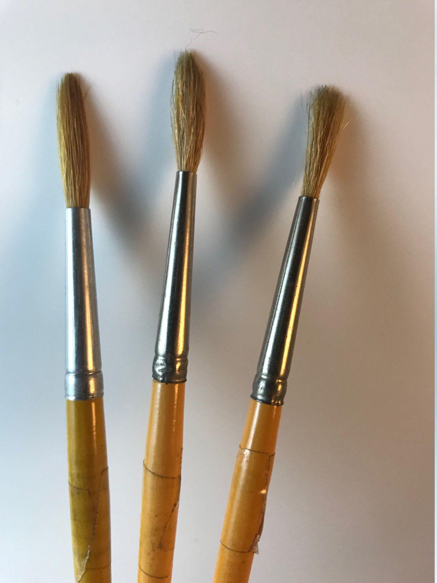 Natural Bristle Makeup Brushes: Vintage Grumbacher Brush, Vintage Gyros Brushes, Sabeline
