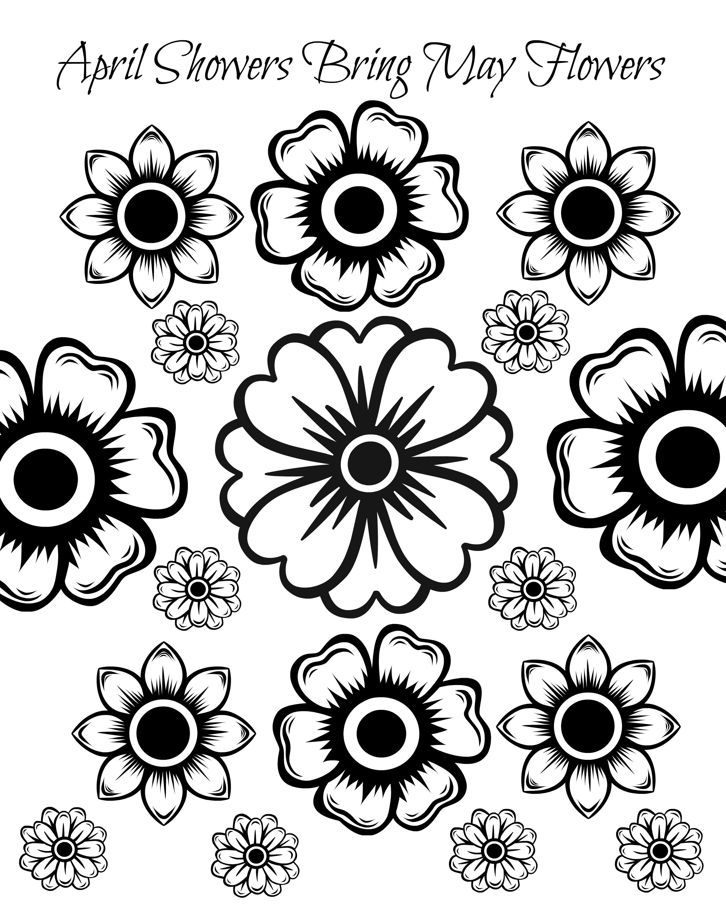 Free Printable May Flowers Adult Coloring Page Flower Coloring