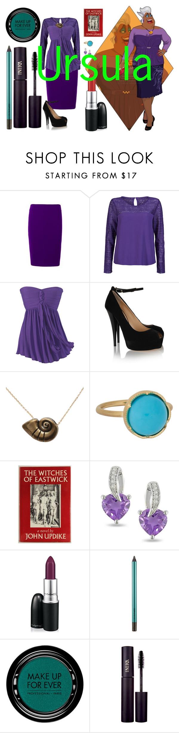 """Ursula's Style"" by bambolinadicarta ❤ liked on Polyvore featuring Disney, ONLY, Giuseppe Zanotti, Irene Neuwirth, Ice, MAC Cosmetics, MAKE UP FOR EVER, INIKA, disney and ursula"
