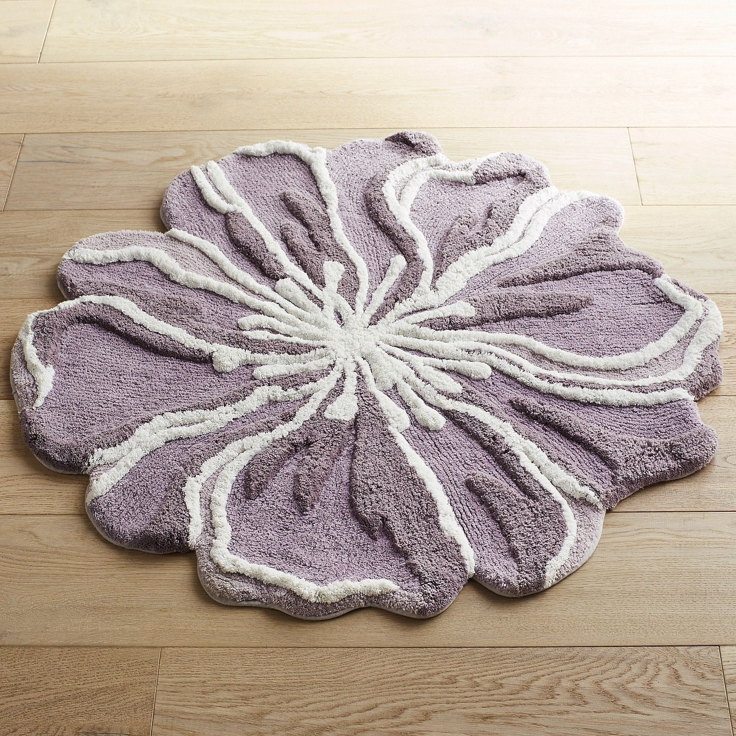 Flower Shaped 3 Round Lilac Bath Rug Flower Shape Bathroom
