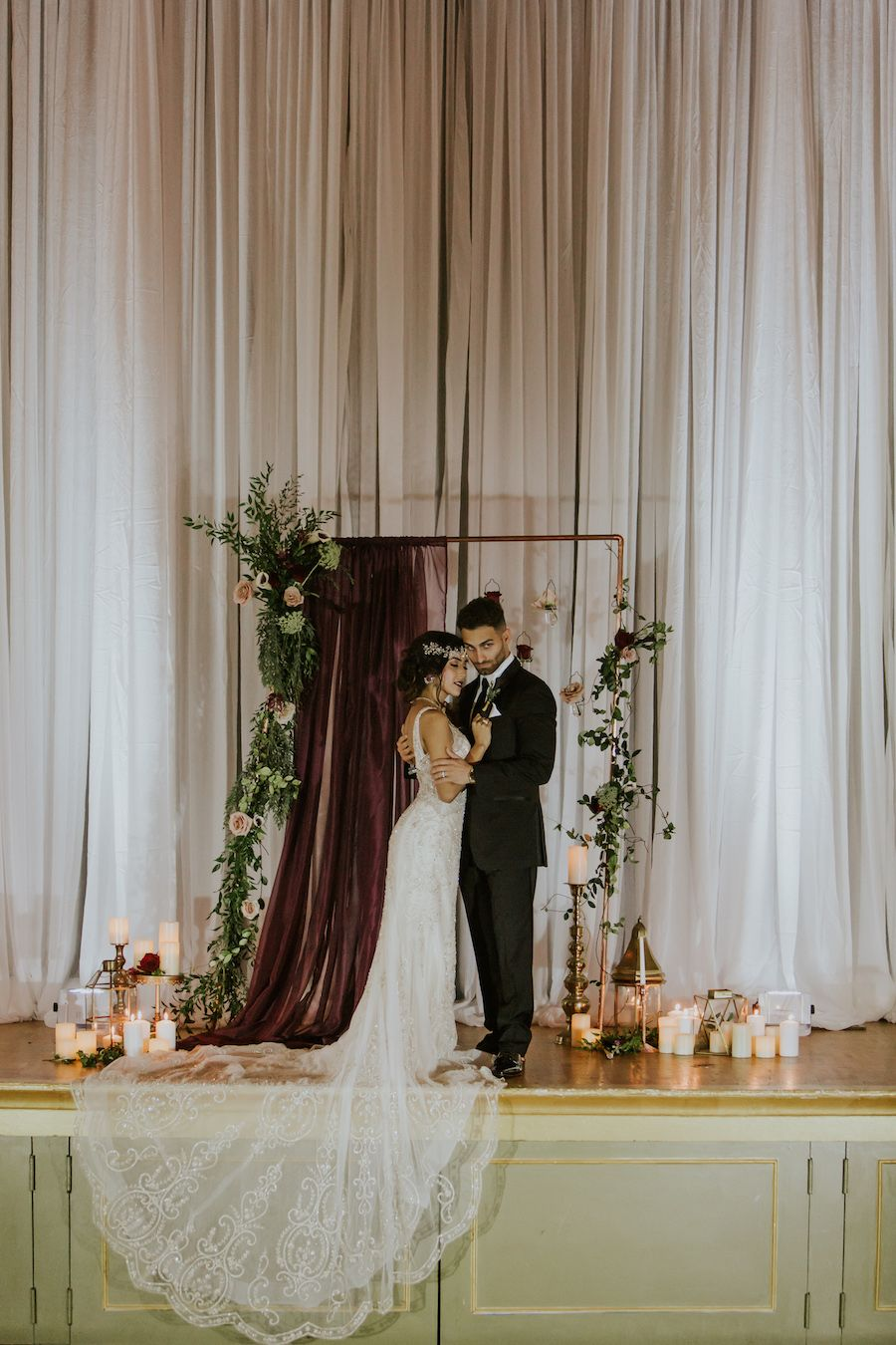 451afedb00a6 Deep Red Burgundy Wedding Ceremony Decor with Candles and Hanging Floral  Rose Draped Altar Backdrop | Romantic Vintage Glam Wedding | Tampa Bay  Wedding ...