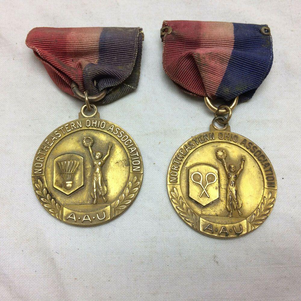 2 Vintage 1930 S Medals Badminton Championship Aau Northeastern Ohio Asso In 2020 Badminton Championship Vintage 1930s Badminton