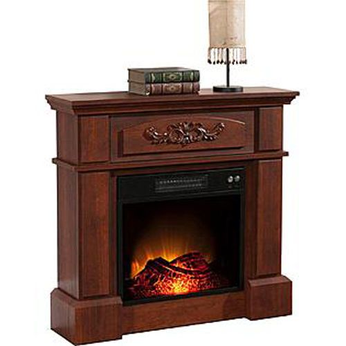 Mantle Mantel Fireplace Electric Heater Oak Tv Stand