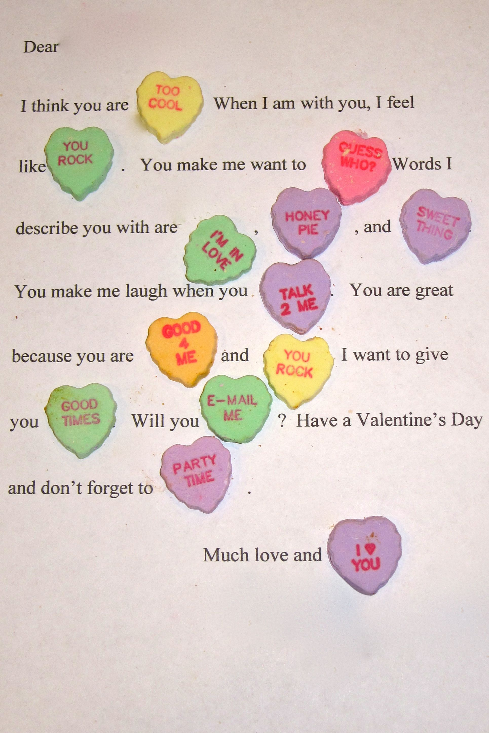 Valentine heart candy madlibs Junior High Pinterest – What to Write on Your Boyfriends Valentines Card