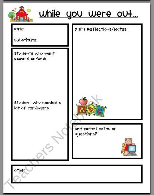 Sub Report Substitute Teaching Resources Pinterest Teacher
